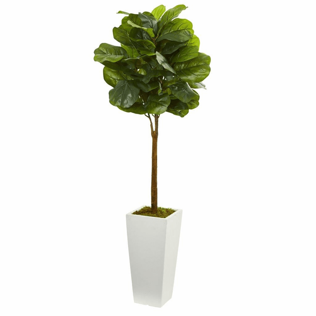4� Fiddle Leaf Artificial Tree in White Tower Planter