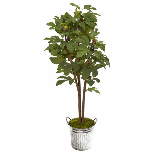 4' Fig Artificial Tree in Vintage Metal Planter  -