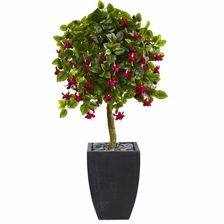 4� Fuschia Artificial Tree in Black Wash Planter