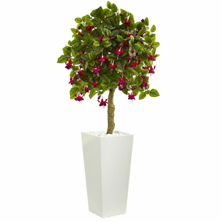 4� Fuschia Artificial Tree in White Tower Planter