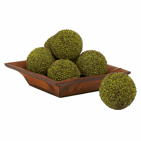 "4"" Green Berry Artificial Balls (Set of 6)"