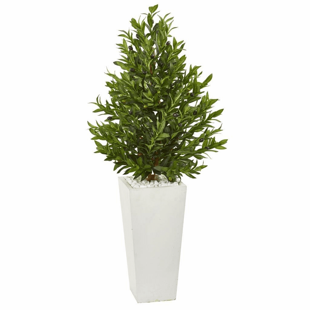 4� Olive Cone Topiary Artificial Tree in White Planter UV Resistant (Indoor/Outdoor)