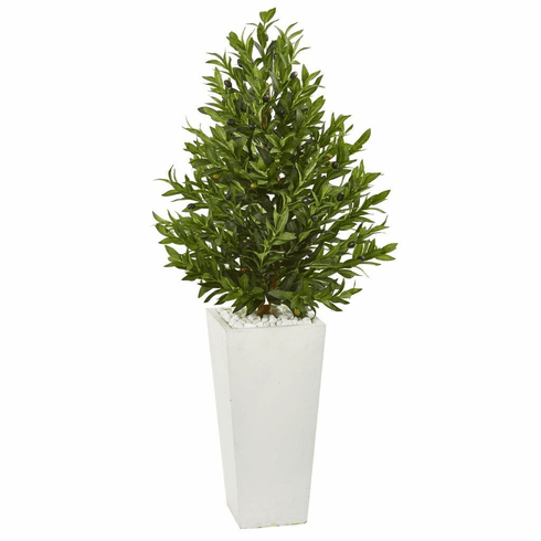 4' Olive Cone Topiary Artificial Tree in White Planter UV Resistant (Indoor/Outdoor)