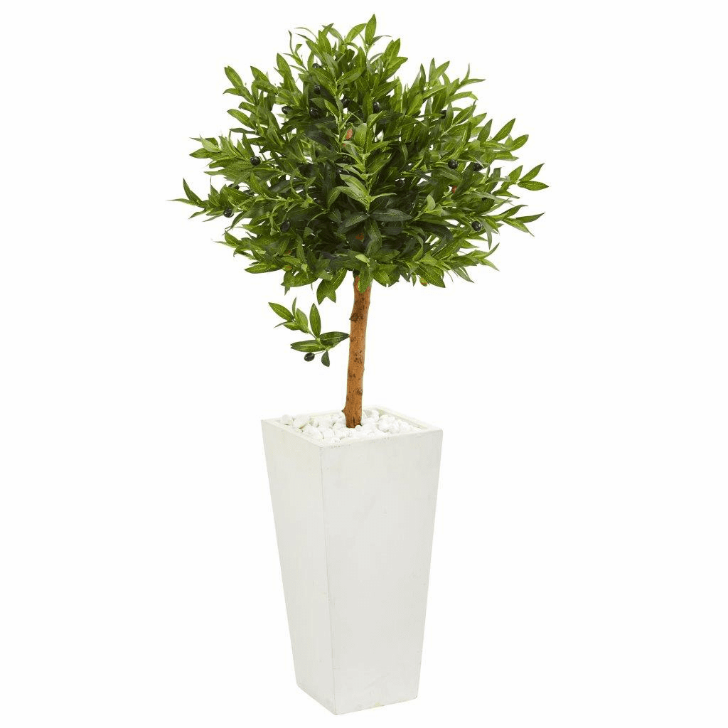 4� Olive Topiary Artificial Tree in White Planter UV Resistant (Indoor/Outdoor)