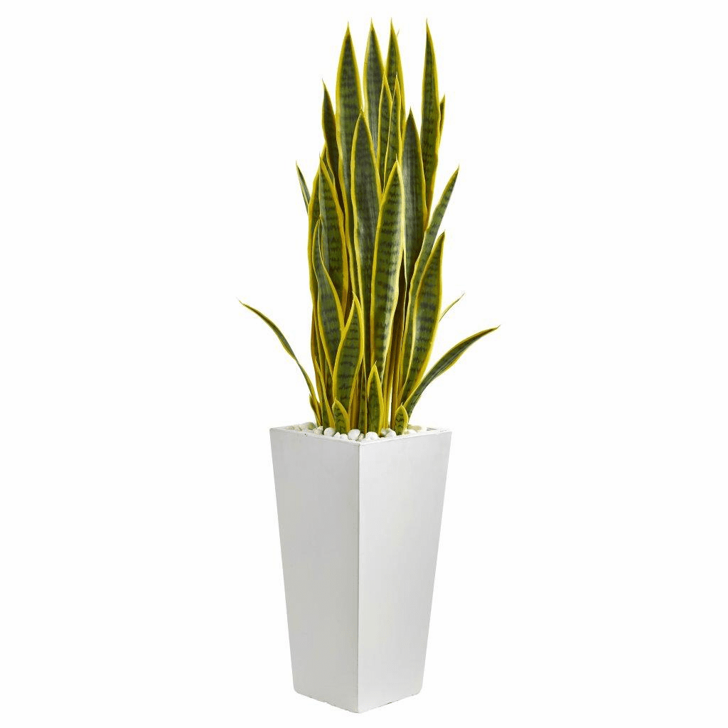 4� Sansevieria Artificial Plant in White Tower Planter