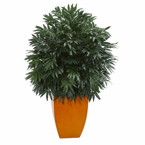 4' Triple Bamboo Artificial Plant in Orange Planter -
