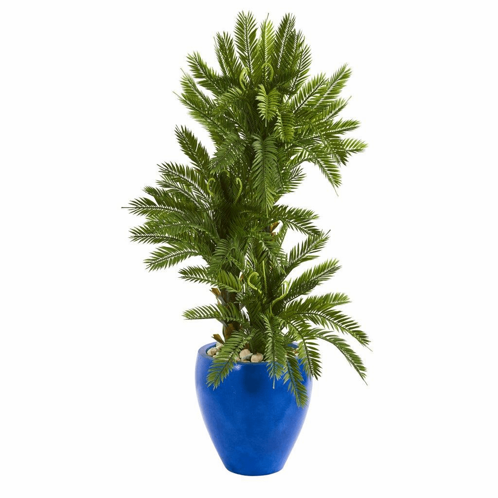 4� Triple Cycas Artificial Plant in Blue Planter