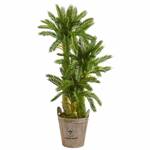 4' Triple Cycas Artificial Plant in Farmhouse Planter
