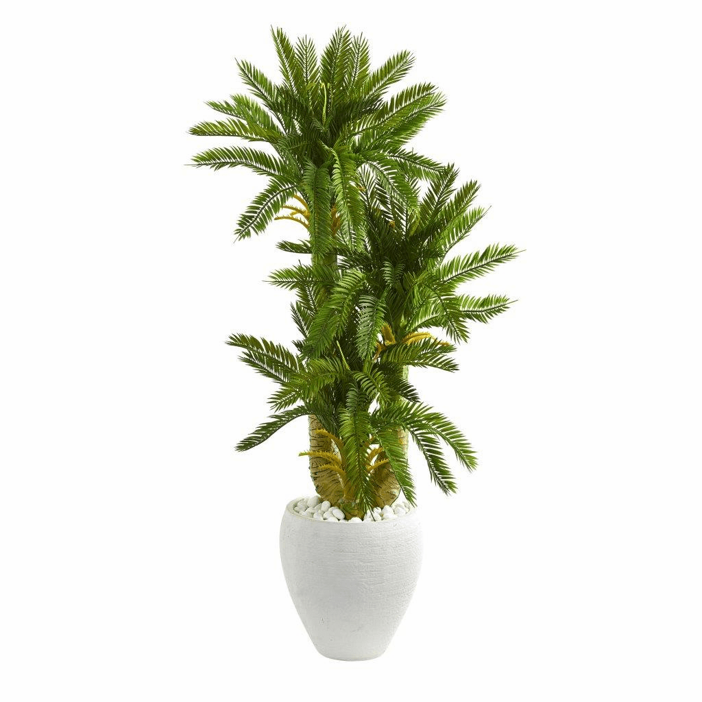 4� Triple Cycas Artificial Plant in White Planter