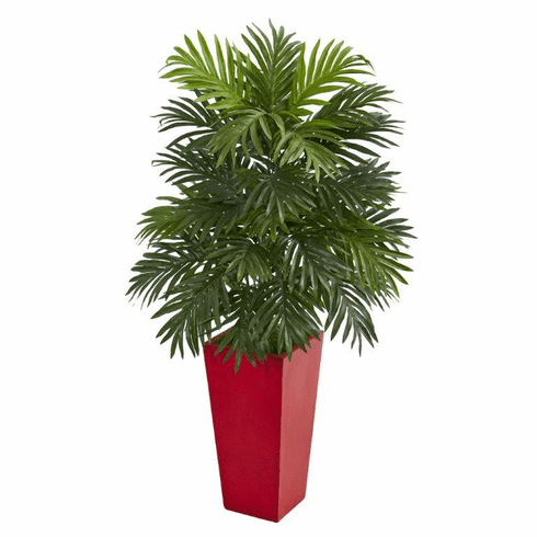"40"" Areca Palm Artificial Plant in Red Planter"