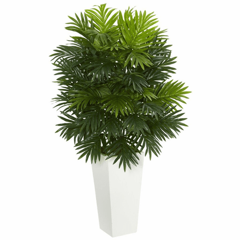 "40"" Areca Palm Artificial Plant in White Tower Planter"
