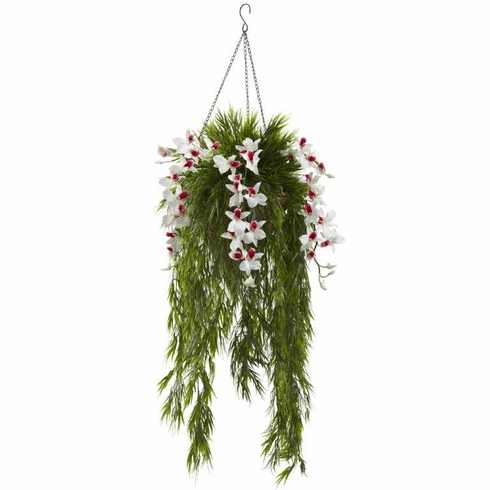 """40"""" Artificial Bamboo & Dendrobium Orchid Hanging Bush in Basket - White"""