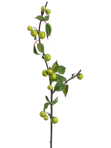 40 Artificial Crab Apple Spray Branch Set Of 12 Shown In Green