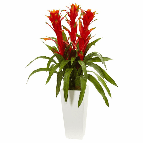 "40"" Bromeliad Artificial Plant in White Tower Planter"