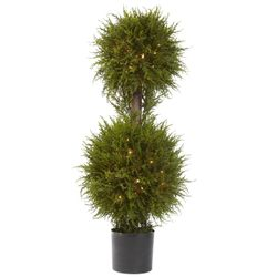 """40"""" Cedar Double Ball Topiary with Lights"""