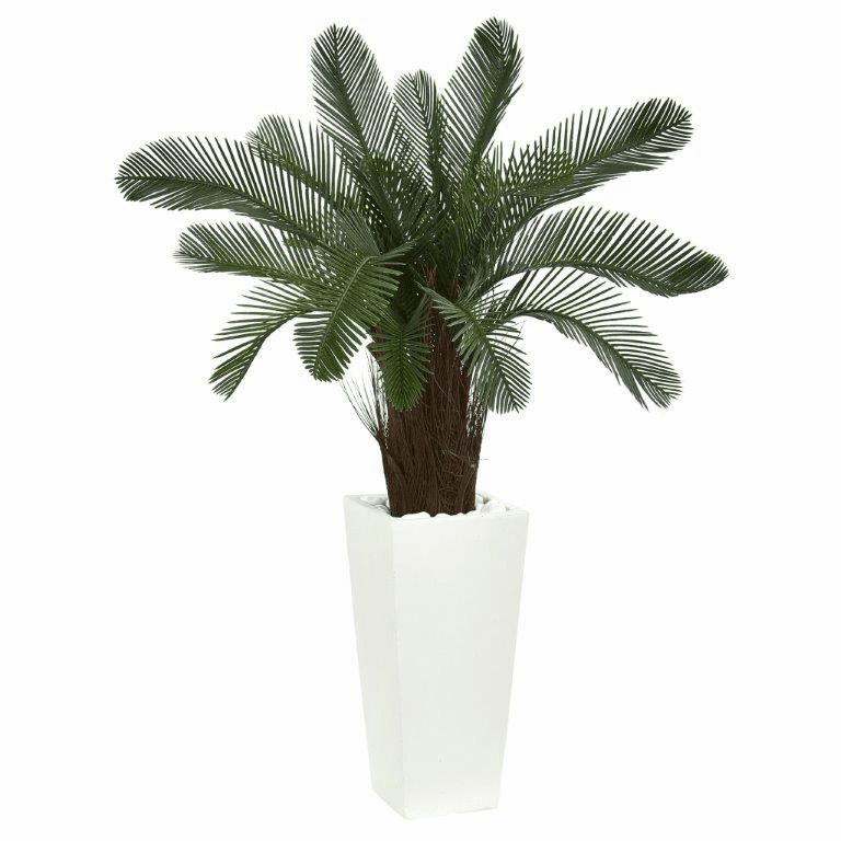40� Cycas Artificial Tree in White Tower Planter UV Resistant (Indoor/Outdoor)