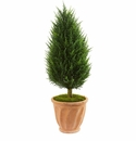 40� Cypress Artificial Tree in Terracotta Planter UV Resistant (Indoor/Outdoor)
