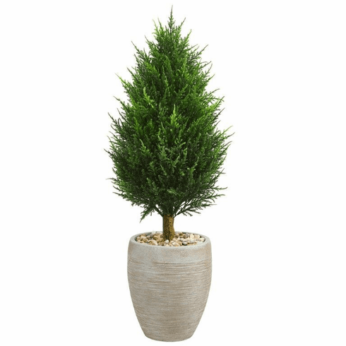"40"" Cypress Cone Artificial Tree in Sand Colored Oval Planter UV Resistant (Indoor/Outdoor)"