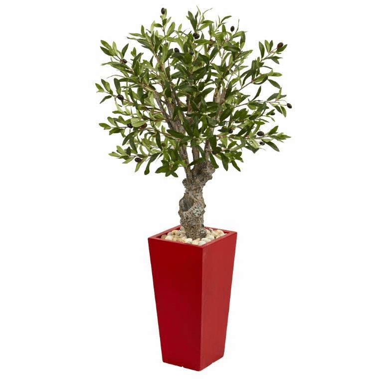 40� Olive Artificial Tree in Red Tower Planter