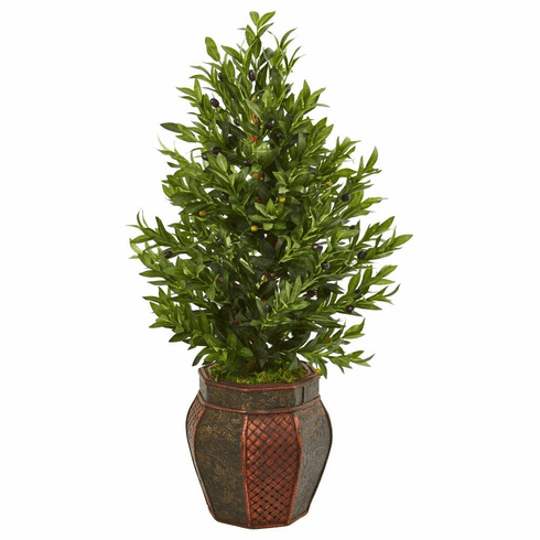 "40"" Olive Cone Topiary Artificial Tree in Decorative Planter"