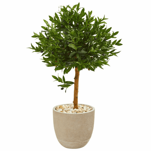 "40"" Olive Topiary Artificial Tree in Sand Stone Planter UV Resistant (Indoor/Outdoor)"