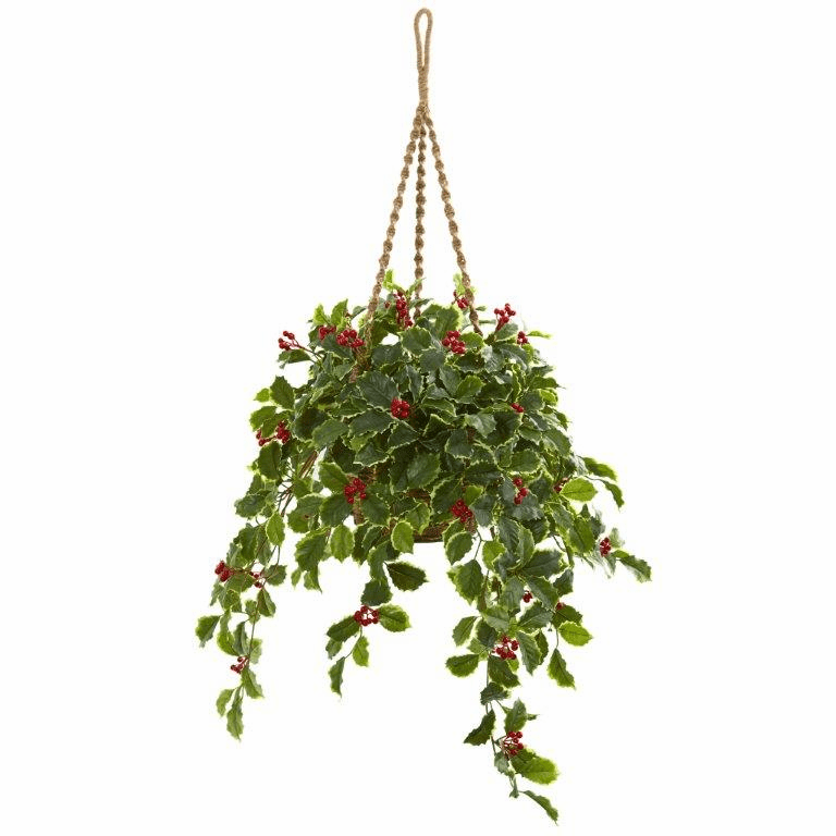 40� Variegated Holly with Berries Artificial Plant in Hanging Basket (Real Touch)