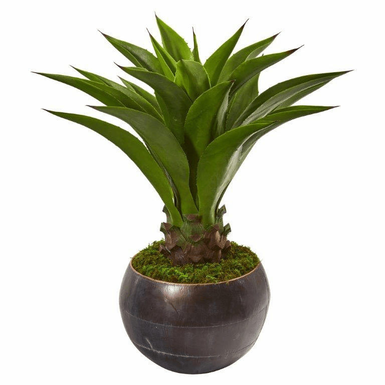 41� Agave Artificial Plant in Decorative Metal Bowl