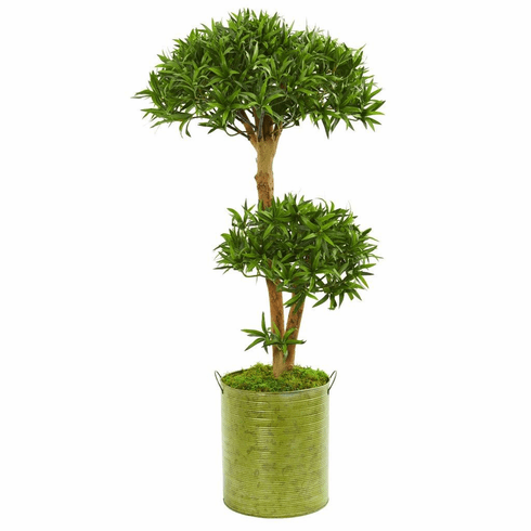 "41"" Bonsai Styled Podocarpus Artificial Tree in Metal Planter"