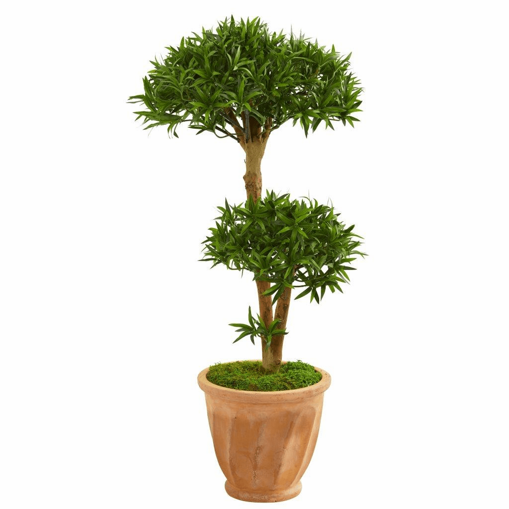 41� Bonsai Styled Podocarpus Artificial Tree in Terra Cotta Planter