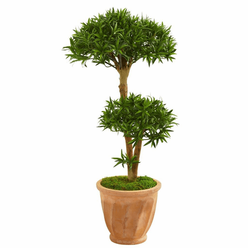 "41"" Bonsai Styled Podocarpus Artificial Tree in Terra Cotta Planter"