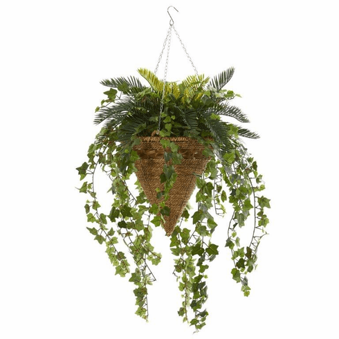 """41"""" Cycas and Ivy Artificial Plant in Hanging Basket"""