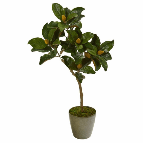 "41"" Magnolia Leaf Artificial Tree in Olive Green Planter -"