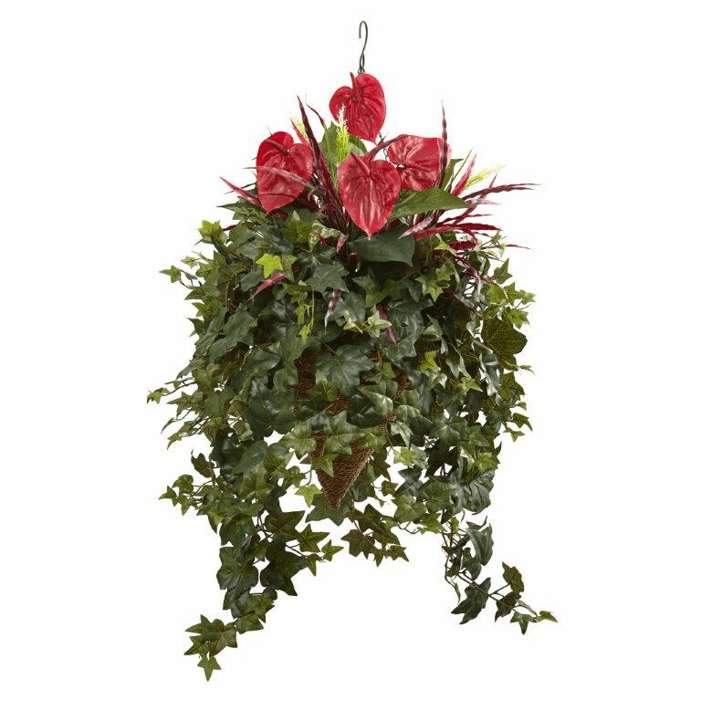 "41"" Mixed Artificial Anthurium Hanging Flower Bush in Basket"