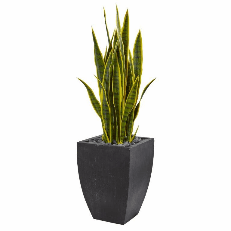 41� Sansevieria Artificial Plant in Black Planter