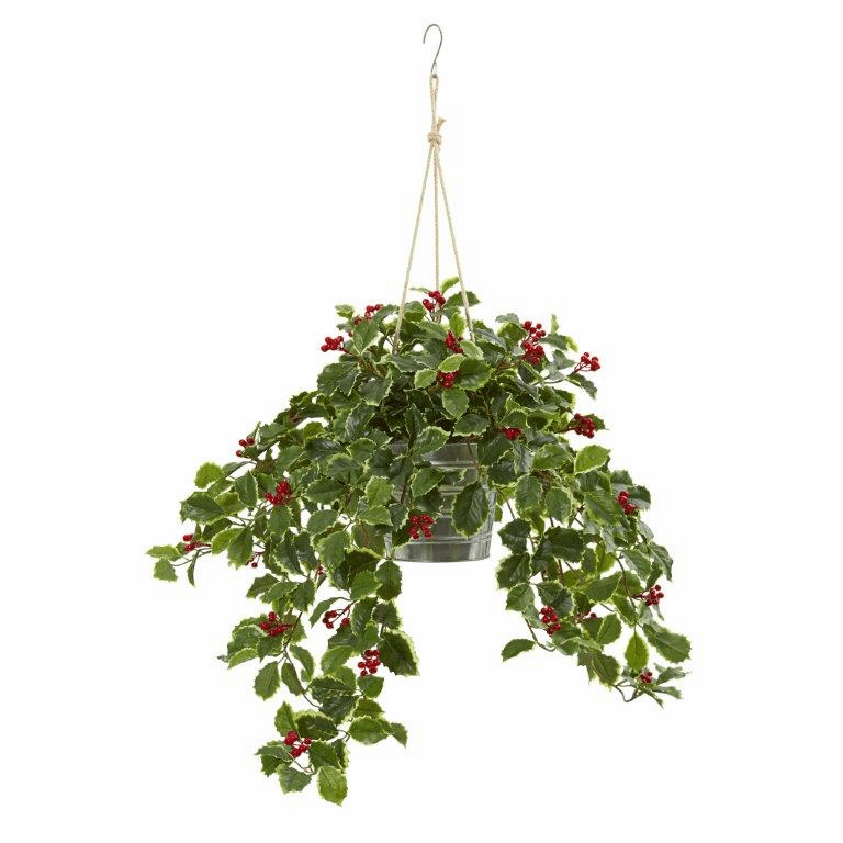 42� Variegated Holly Berry Artificial Plant in Hanging Bucket (Real Touch)