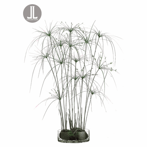 "43"" Artificial Papyrus Grass Plant in Glass Vase"