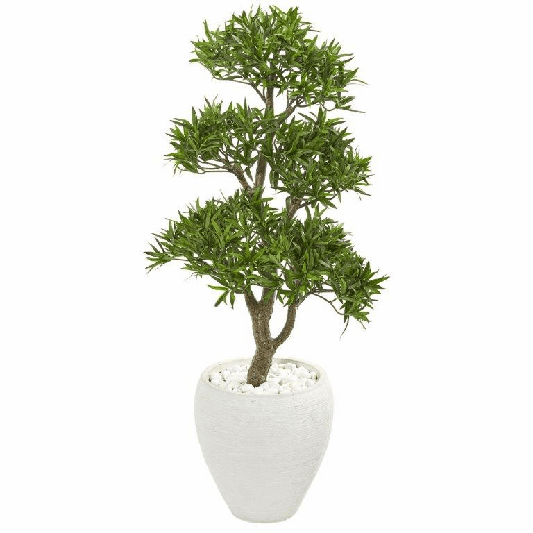 43� Bonsai Styled Podocarpus Artificial Tree in White Planter