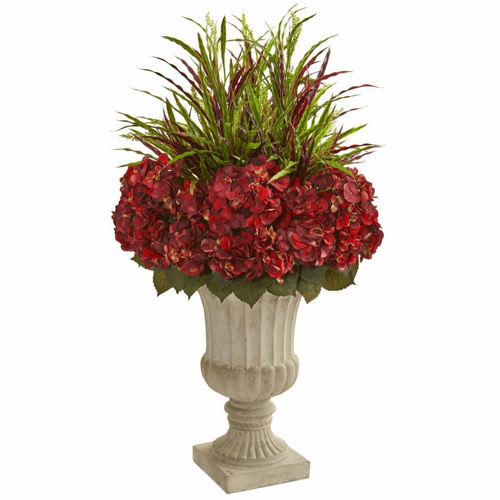 43� Hydrangea and Grass Artificial Plant in Stone Urn