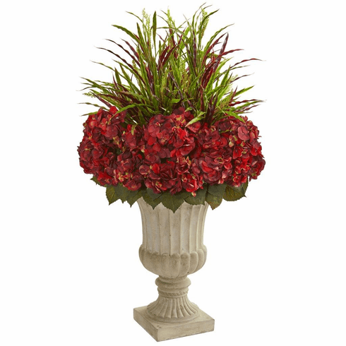 "43"" Hydrangea and Grass Artificial Plant in Stone Urn"