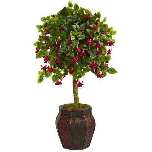 "44"" Artificial Tree with Fuschia Flowers in Decorative Planter"