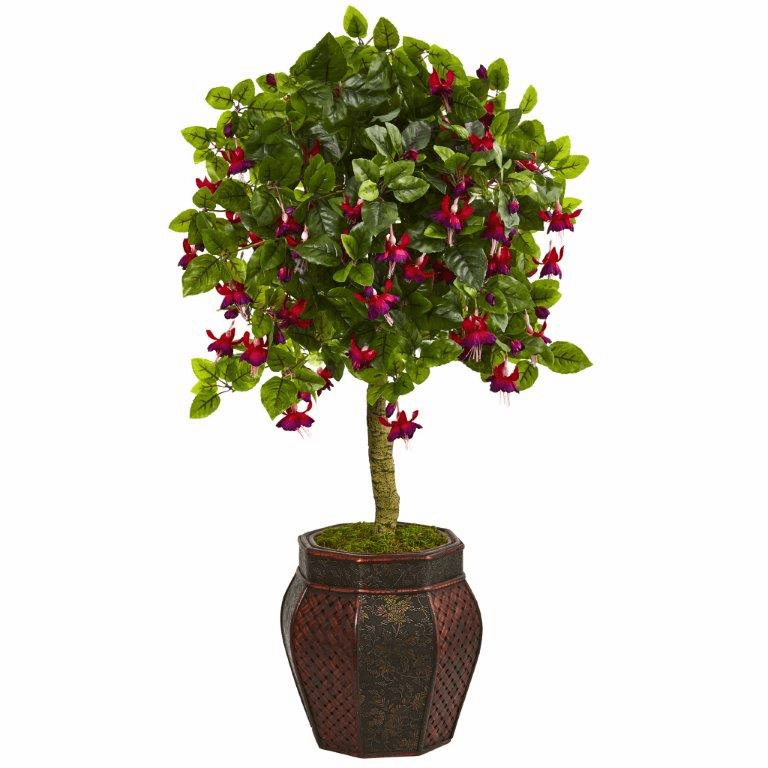 44� Artificial Tree with Fuschia Flowers in Decorative Planter