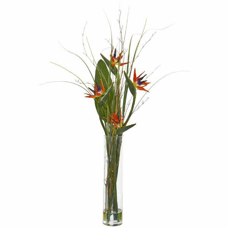 "44"" Bird of Paradise and Greens Artificial Arrangement"
