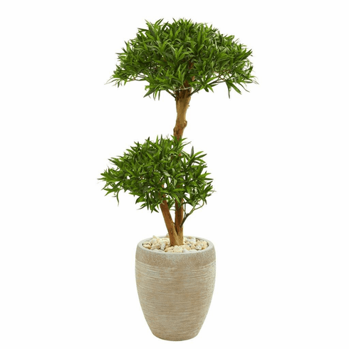 "44"" Bonsai Styled Podocarpus Artificial Tree in Sand Colored Planter"