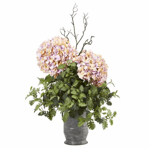 """44"""" Hydrangea and Dusty Miller Artificial Plant in Metal Urn"""