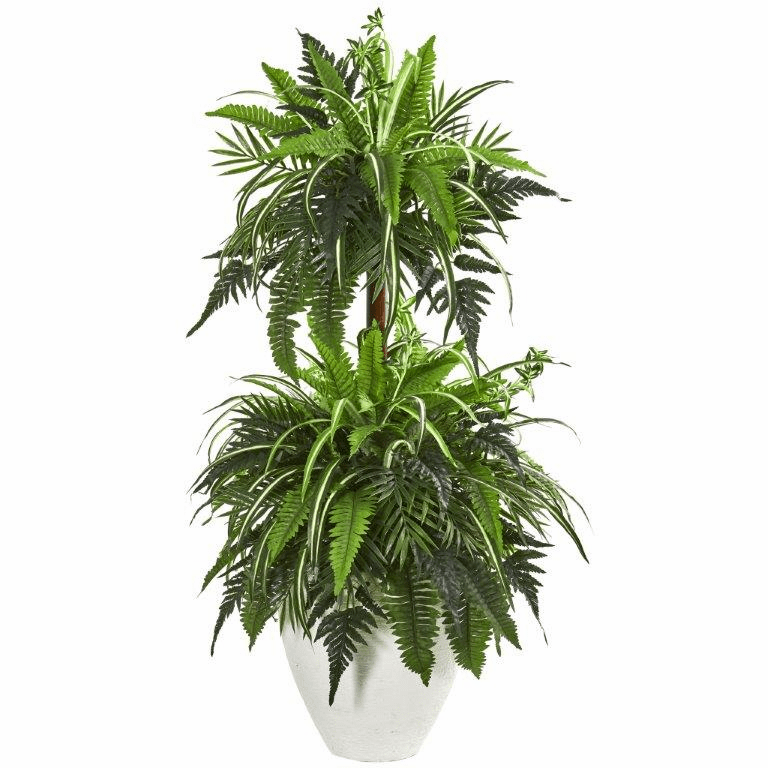 44� Mixed Greens and Fern Artificial Plant in White Planter
