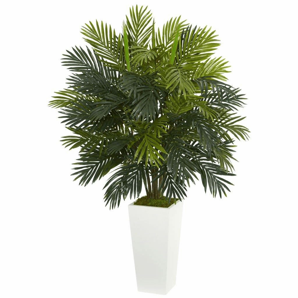 """45"""" Areca Palm Artificial Plant in White Tower Planter"""