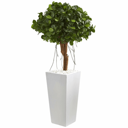 """45"""" Ficus Artificial Tree in White Tower Planter"""