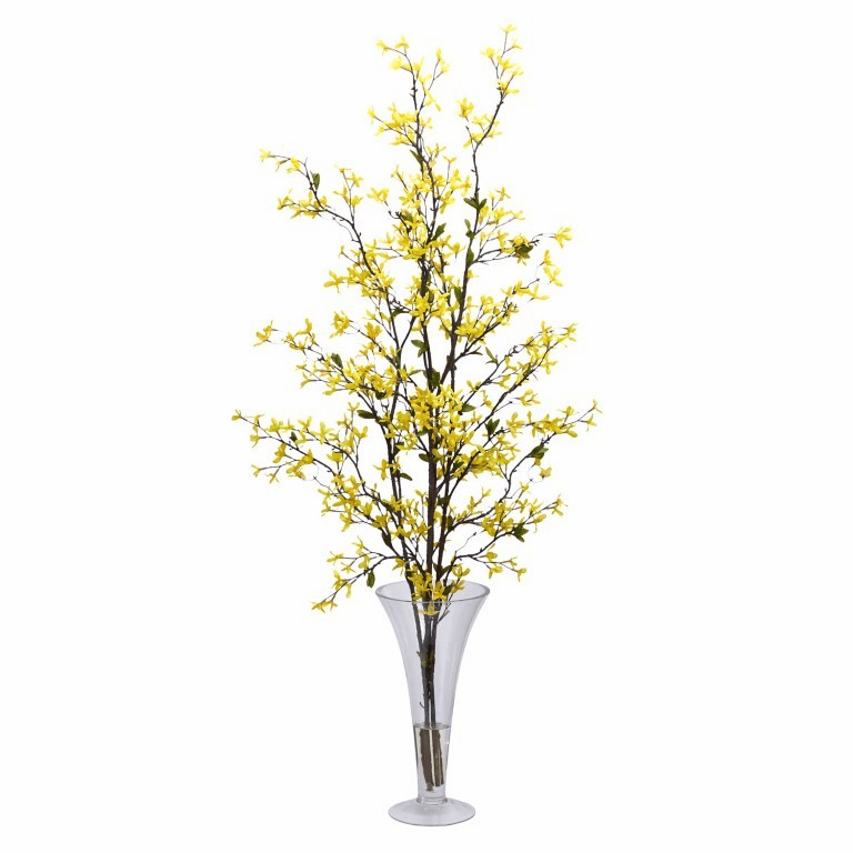 "45"" Forstyhia with Vase Silk Flower Arrangement"