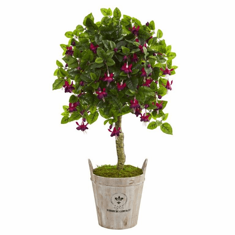 45� Fuschia Artificial Tree in Barrel Planter