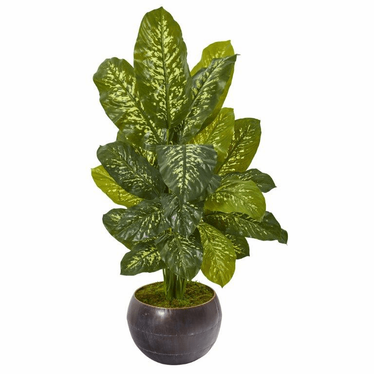 46� Dieffenbachia Artificial Plant in Metal Bowl (Real Touch)